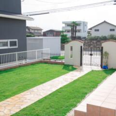 玄関周りと芝生